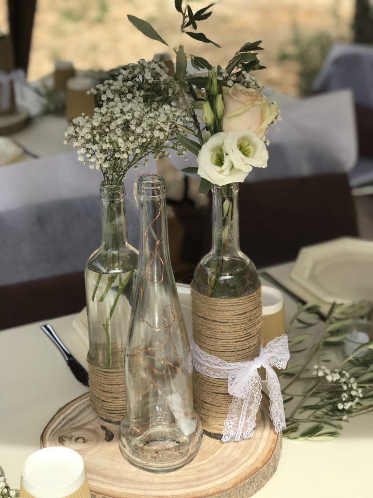 centre de table champêtre chez eux à la bonne franquette de Morgane et Johan