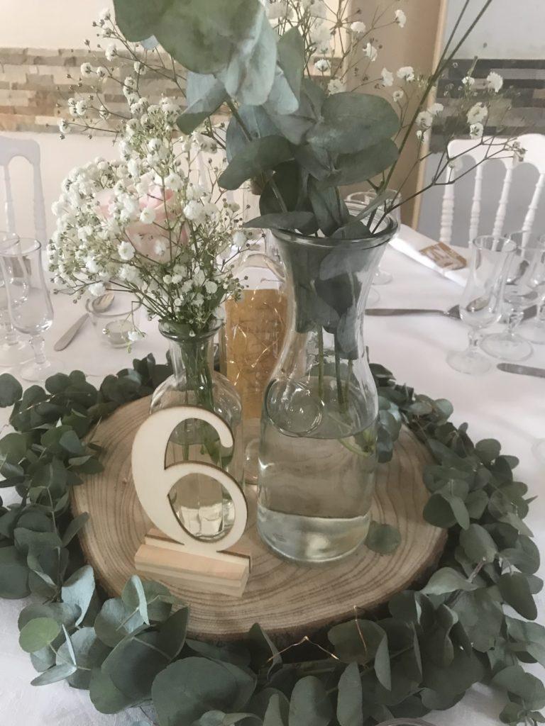 centre de table chic et champêtre du mariage de Marine et Denys