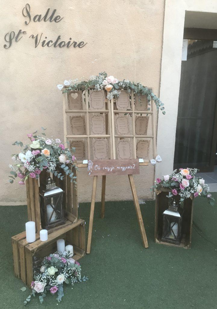 plan de table chic et champêtre du mariage de Marine et Denys