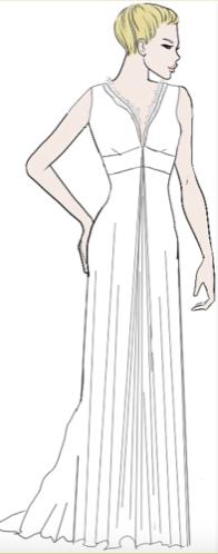 "alt=""dessin robe de mariée coupe trapèze"""
