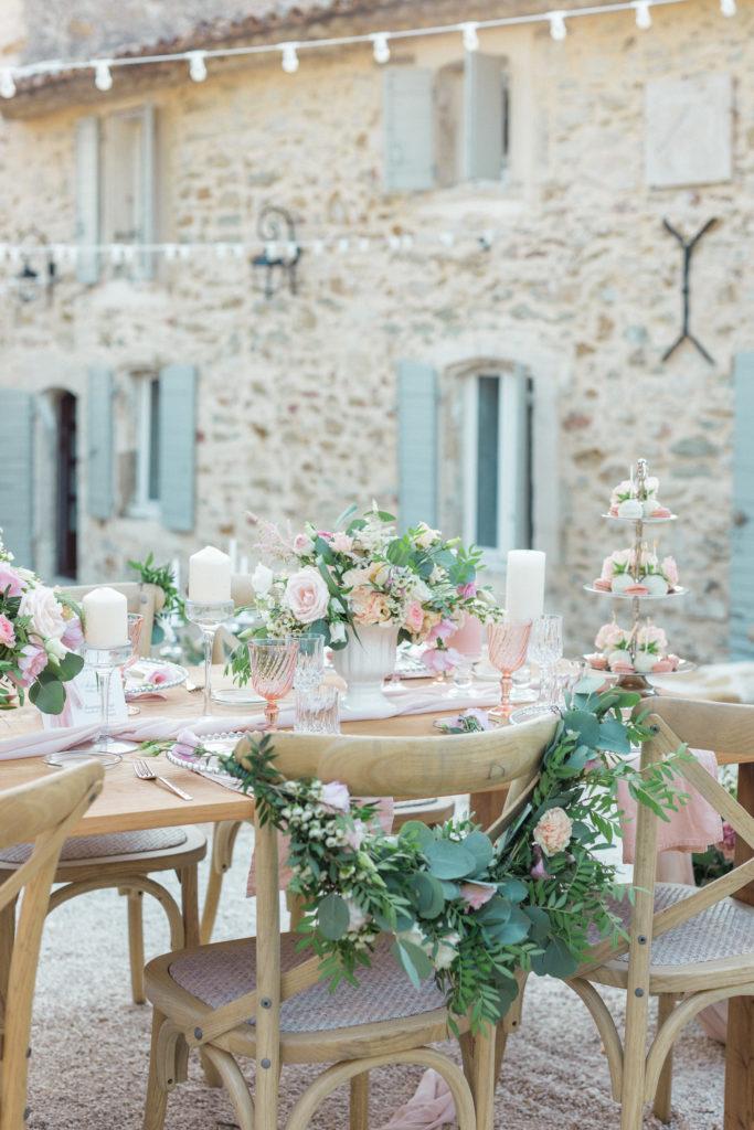 détail de la table de mariage